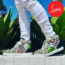 Christian Louboutin Stripes Blended Fabrics Studded Street Style Plain Leather