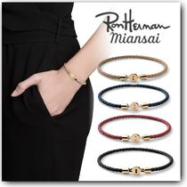 Ron Herman Blended Fabrics Leather 18K Gold Elegant Style Bracelets