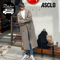 ASCLO Unisex Street Style Plain Long Oversized Trench Coats