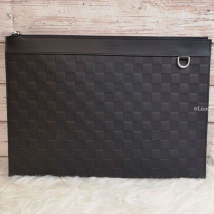 Louis Vuitton Clutches Other Check Patterns Blended Fabrics Street Style Bag in Bag