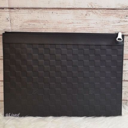 Louis Vuitton Clutches Other Check Patterns Blended Fabrics Street Style Bag in Bag 2