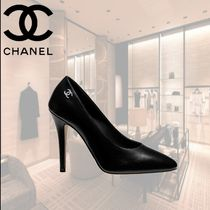 CHANEL Plain Leather Elegant Style High Heel Pumps & Mules