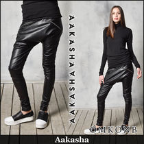 Aakasha Casual Style Faux Fur Plain Leather & Faux Leather Pants