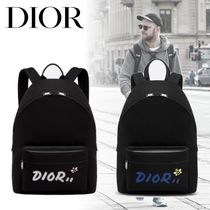 Christian Dior Nylon Street Style A4 Plain Backpacks