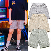 TWN Short Other Check Patterns Casual Style Unisex Street Style
