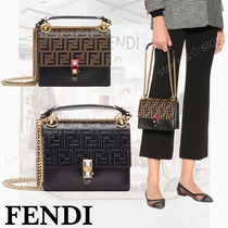FENDI KAN I Monogram Calfskin 3WAY Chain Shoulder Bags