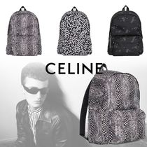 CELINE Unisex Nylon Street Style A4 Python Backpacks