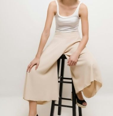 Plain Medium Oversized Elegant Style Cropped & Capris Pants