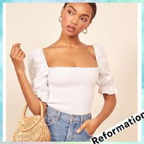 REFORMATION Flower Patterns Casual Style Linen Cropped Tops