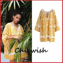 Chicwish Tassel V-Neck Cropped Cotton Medium Oversized Tunics