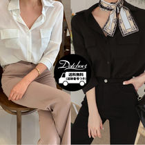 Casual Style Cropped Plain Medium Shirts & Blouses