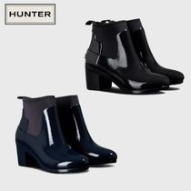 HUNTER Rubber Sole Plain Mid Heel Boots