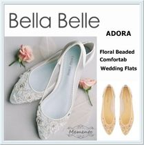 Bella Belle Flower Patterns Platform Plain Toe Leather Handmade