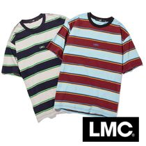 LMC Stripes Unisex Street Style Cotton Short Sleeves Oversized