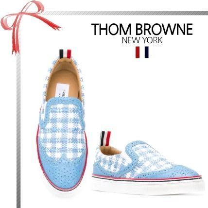 Gingham Casual Style Low-Top Sneakers