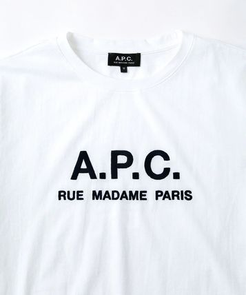 A.P.C. Crew Neck Crew Neck Plain Short Sleeves Logo T-Shirt Logo 6