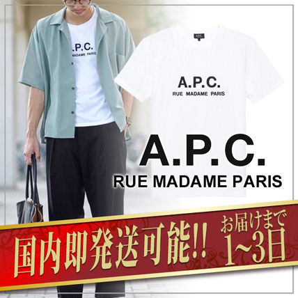 A.P.C. Crew Neck Crew Neck Plain Short Sleeves Logo T-Shirt Logo