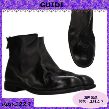 Round Toe Leather Boots Boots