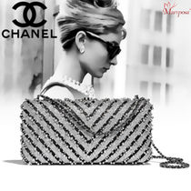 CHANEL Stripes Lambskin Party Style Party Bags