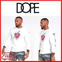 DOPE couture Crew Neck Unisex Street Style Long Sleeves Plain Cotton