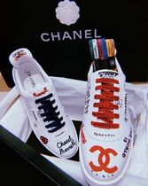 CHANEL Heart Unisex Street Style Collaboration Leather Sneakers