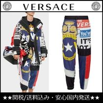 VERSACE Printed Pants Star Nylon Street Style Patterned Pants
