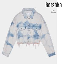Bershka Short Casual Style Denim Tie-dye Jackets