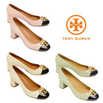 Tory Burch Round Toe Bi-color Leather Block Heels Elegant Style