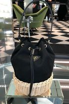 PRADA CANAPA Blended Fabrics Bi-color Purses Straw Bags
