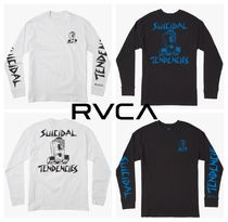 RVCA Crew Neck Collaboration Long Sleeves Plain Cotton