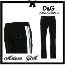 Dolce & Gabbana Stripes Plain Cotton Jeans & Denim