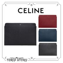 CELINE Plain Leather Bold Clutches