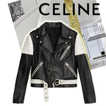 CELINE Short Bi-color Plain Leather Souvenir Jackets