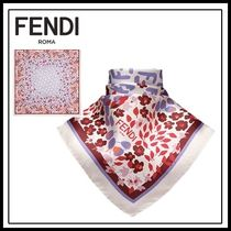 FENDI Flower Patterns Silk Lightweight Scarves & Shawls