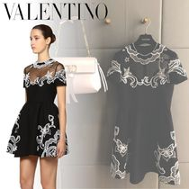 VALENTINO Short Silk Flared Short Sleeves Party Style With Jewels