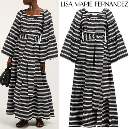 Stripes Flared Long Elegant Style Puff Sleeves Dresses