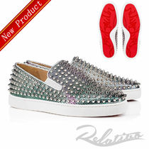 Christian Louboutin ROLLER BOAT Studded Street Style Plain Leather Loafers & Slip-ons