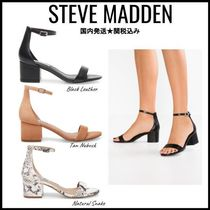 Steve Madden Open Toe Suede Plain Block Heels Party Style Python Sandals