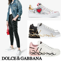 Dolce & Gabbana Round Toe Rubber Sole Lace-up Casual Style Bi-color