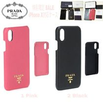 PRADA SAFFIANO LUX Unisex Blended Fabrics Plain Leather Smart Phone Cases