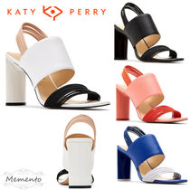 Katy Perry Open Toe Casual Style Blended Fabrics Bi-color Plain