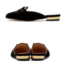 Charlotte Olympia Round Toe Plain Leather Elegant Style Slip-On Shoes
