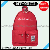 Off-White Unisex Nylon Blended Fabrics Bag in Bag 2WAY Backpacks