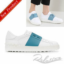 VALENTINO Round Toe Rubber Sole Lace-up Casual Style Studded Bi-color