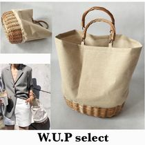 Blended Fabrics Plain Straw Bags