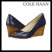 Cole Haan Open Toe Plain Leather Elegant Style Peep Toe Pumps & Mules