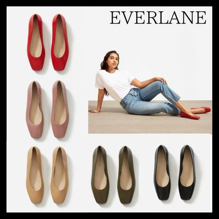 Square Toe Casual Style Plain Leather Chunky Heels