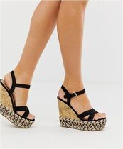 ASOS Open Toe Suede Plain Platform & Wedge Sandals