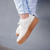 Nike AIR FORCE 1 Platform Casual Style Street Style Plain Leather