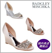 Badgley Mischka Open Toe With Jewels Elegant Style Peep Toe Pumps & Mules